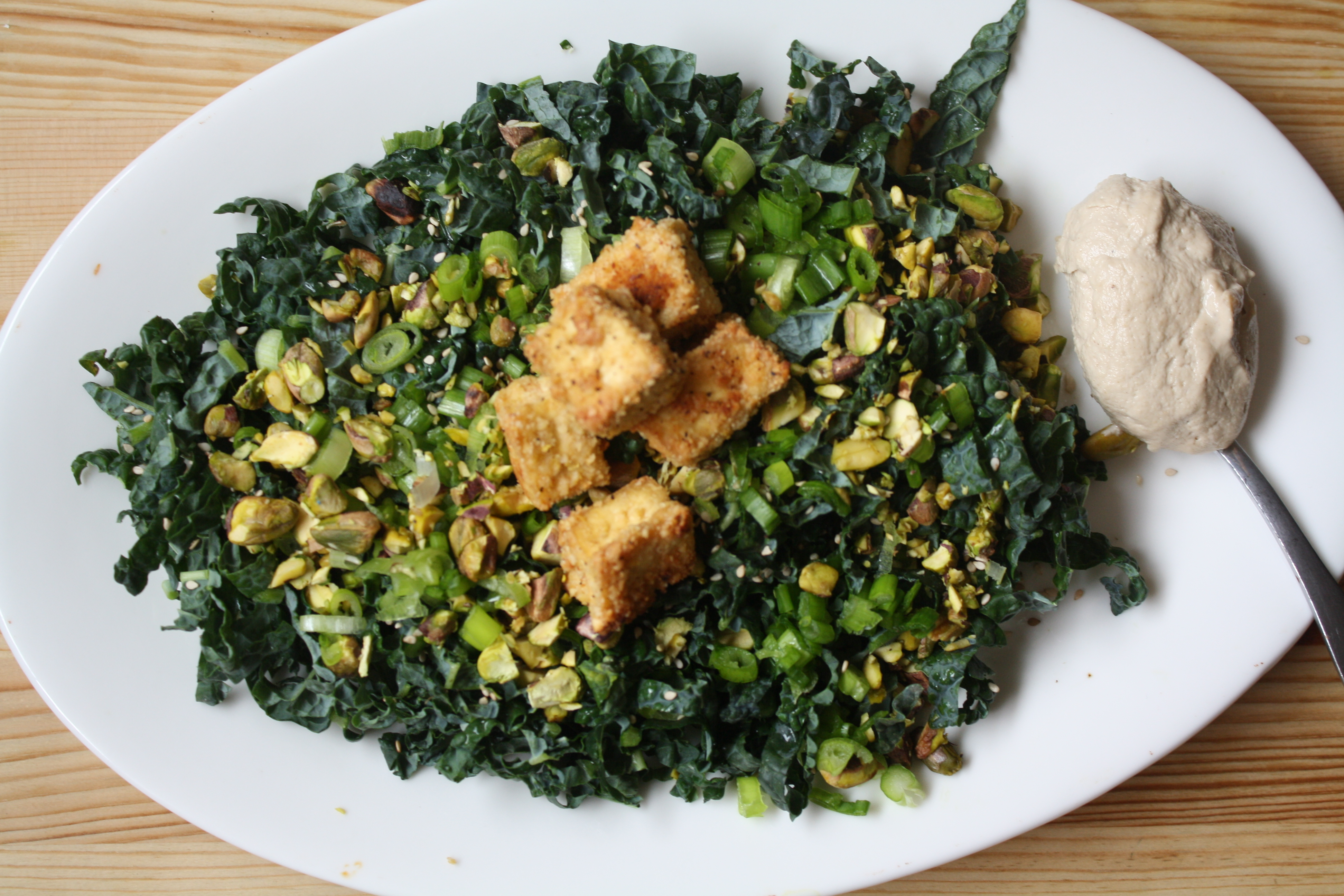 ... Kale Salad with Pistachios, Tahini Miso Dressing & Almond Crusted Tofu